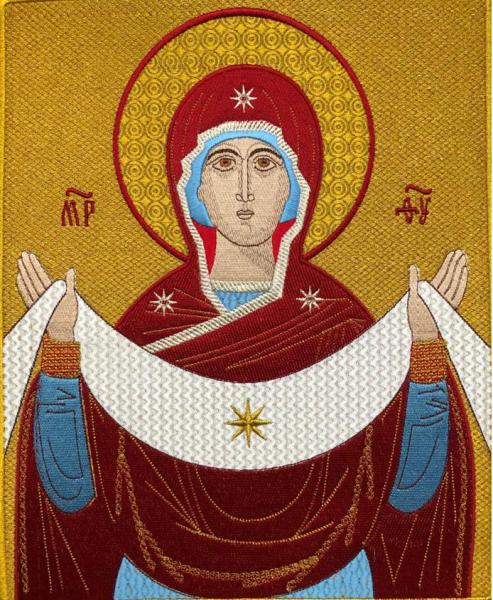 Покров Божией Матери, икона для хоругви вышитая