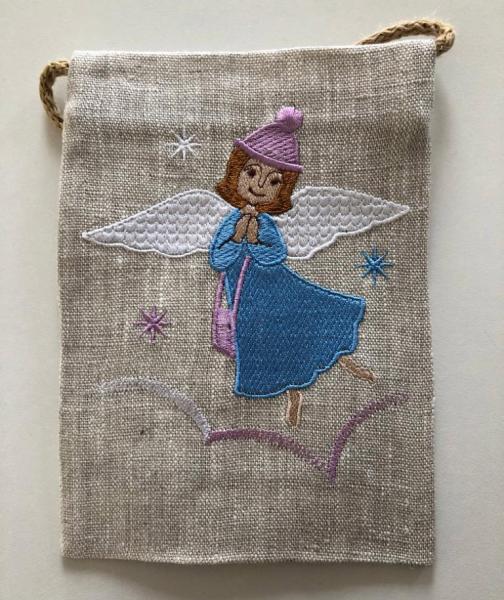 Сумочка паломника вышивка «Ангела в дорогу». Лен, шелковые нити