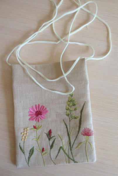 Сумочка паломника вышивка «Цветы луговые». Лен, шелковые нити