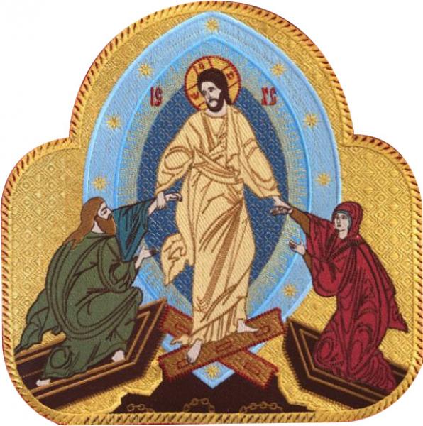 Воскресение Христово, Сошествие Христа в ад, икона вышитая. Размер 25 х 25 см.