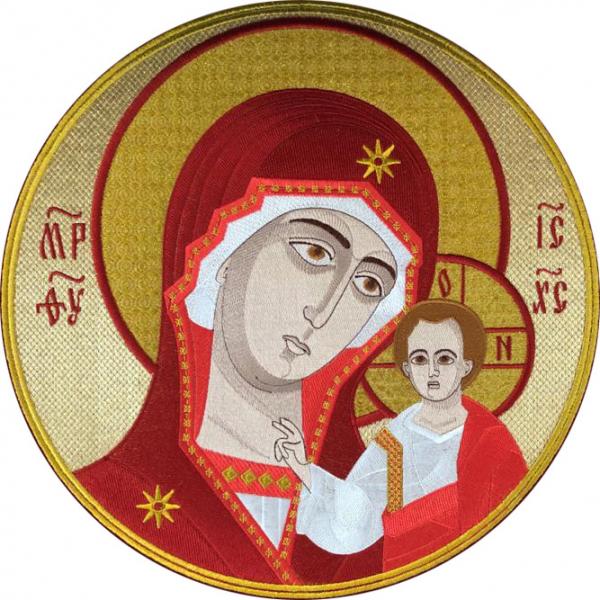 Казанская икона Божией Матери, икона для хоругви вышитая круглая. Размер 33 х 33 см.