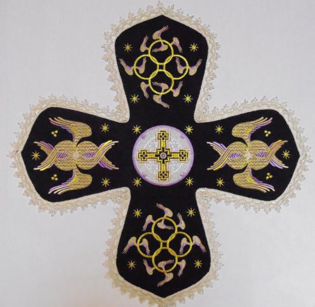 Воздух и покровцы вышивка «Престол уготованный». Лен цвет черный