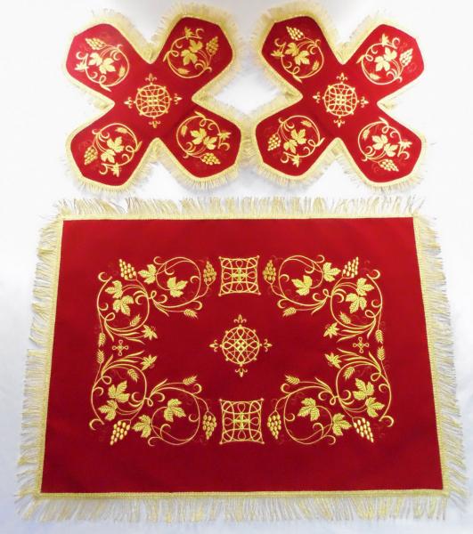 Воздух и покровцы вышивка «Виноград и колосья». Бархат цвет красный