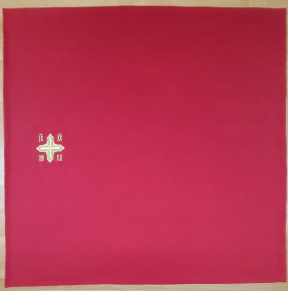 Илитон на престол вышитый с печатью IC-XC Ника. Красный искусственный шелк