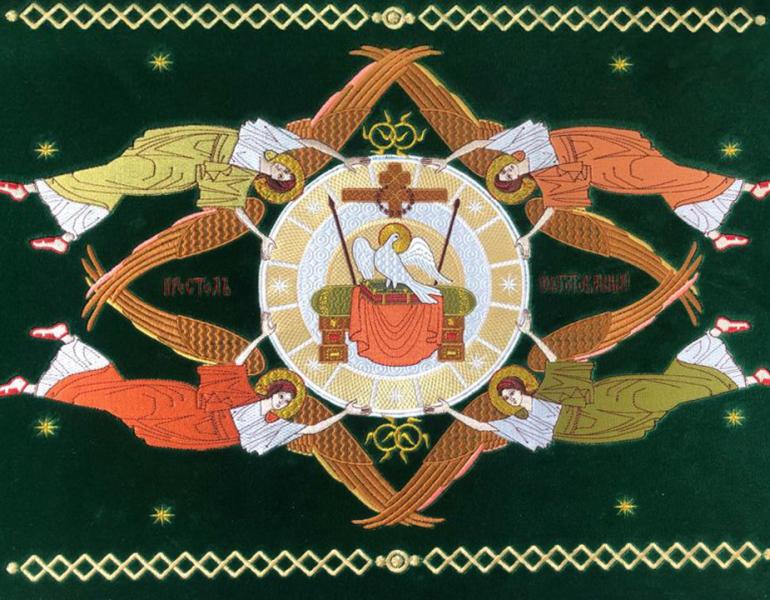 Воздух и покровцы вышивка «Престол уготованный». Бархат зеленый