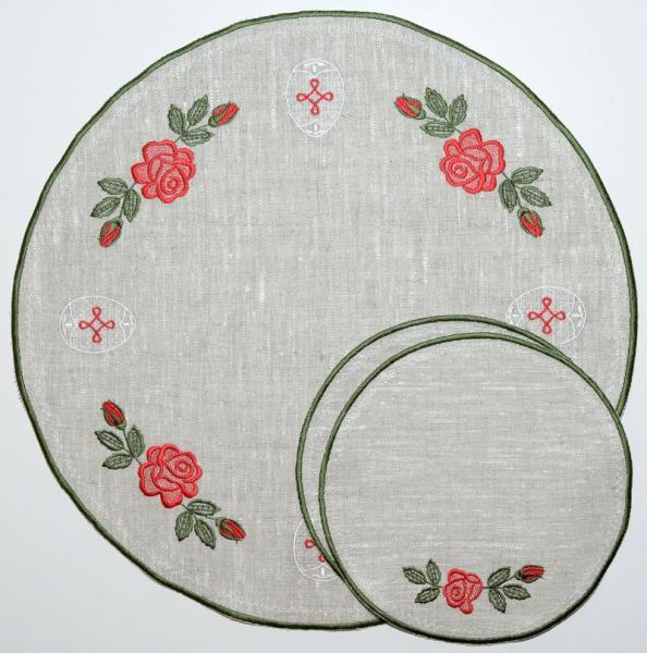 Столовый комплект вышивка «Розочки пасхальные». Лен, шелковые нити