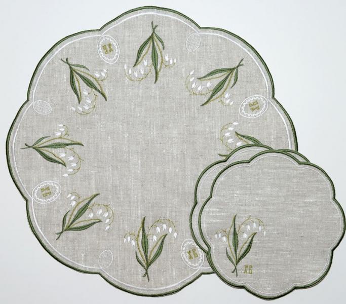 Столовый комплект вышивка «Ландыш пасхальный». Лен, шелковые нити