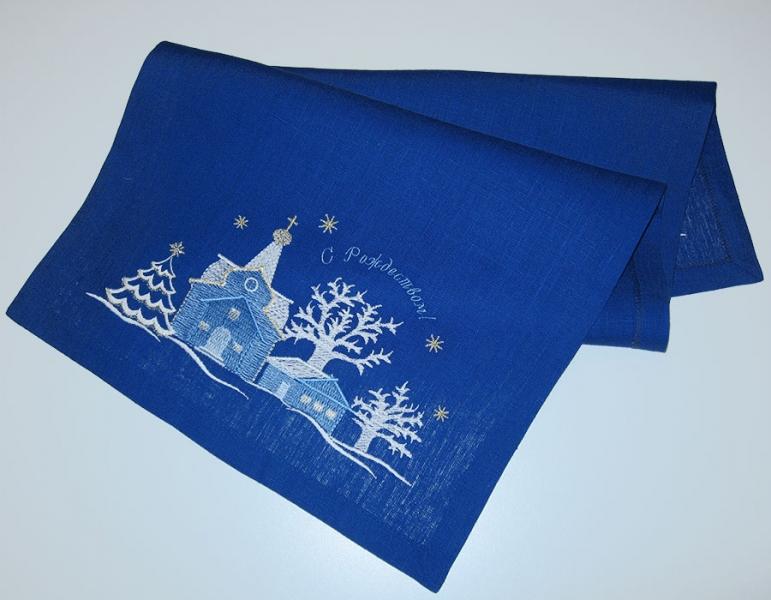 Дорожка вышивка «Рождественская ночь». Размер 90 х 50 см. Лен, шелковые нити