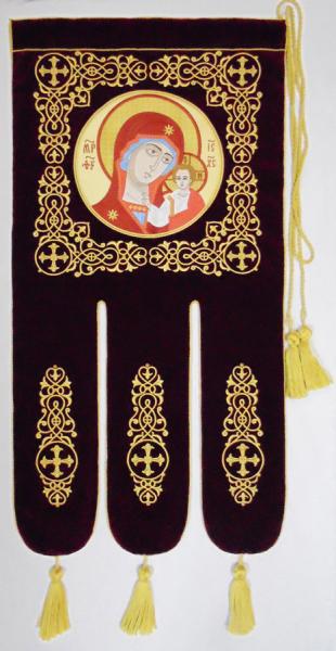 Хоругвь Казанская икона Божией Матери. Вышивка.  Размер 50 х 100 см