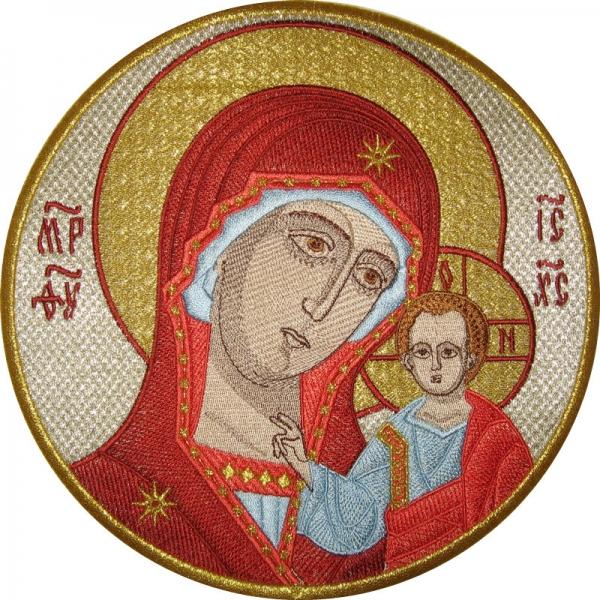 Казанская икона Божией Матери, икона вышитая
