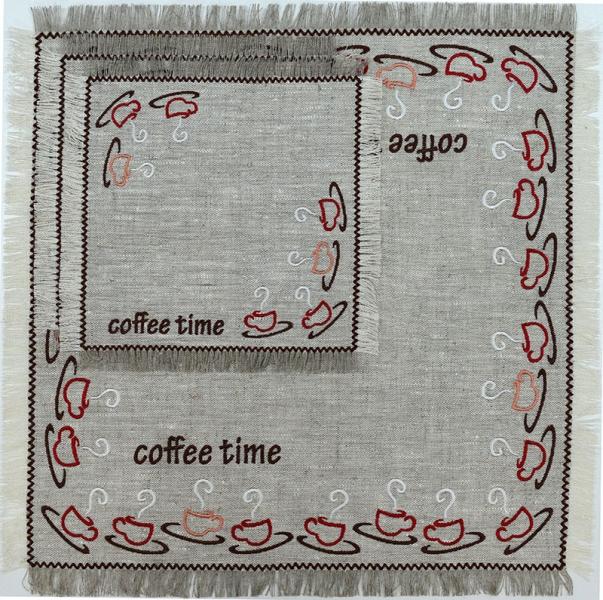 Столовый комплект вышивка «Coffe time». Лен, шелковые нити