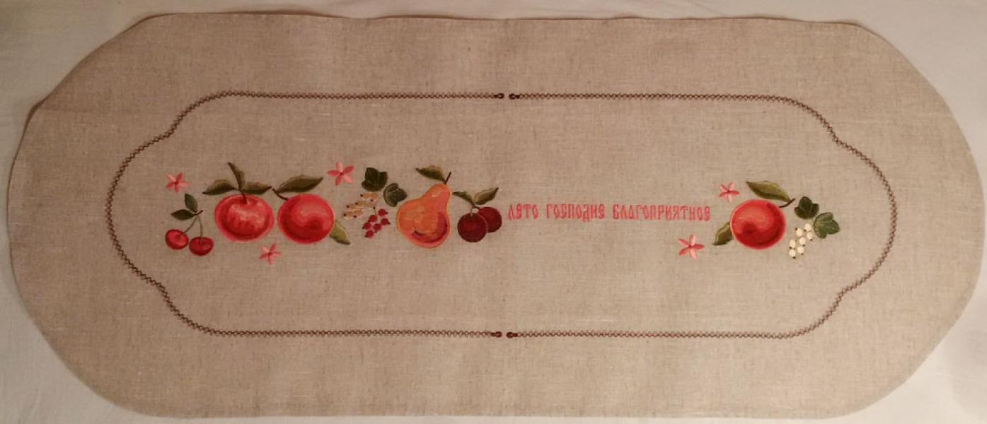Дорожка вышивка «Лето благоприятное». Размер 90 х 45 см. Лен, шелковые нити