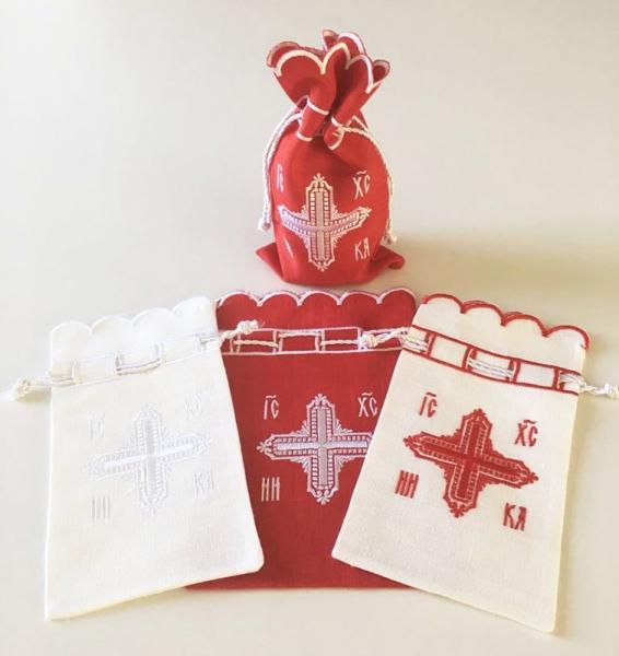 Мешочек подарочный для просфор вышивка «Крест». Лен, шелковые нити
