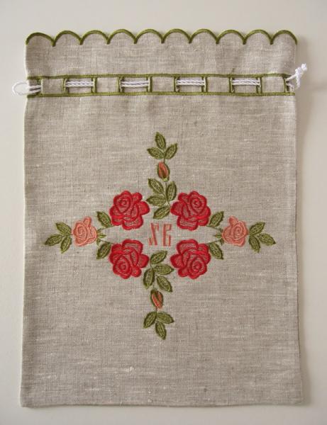 Мешочек подарочный и для артоса вышивка «Розочки пасхальные». Лен шелковые нити