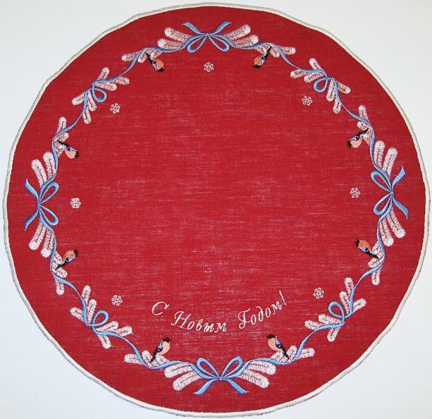 Салфетка вышивка «Снегири». Лен, шелковые нити. Размер 40х40 см