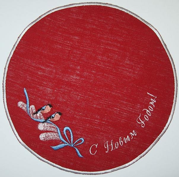 Салфетка вышивка «Снегири». Лен, шелковые нити. Размер 22х22 см