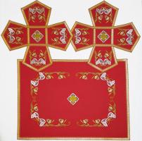 Воздух и покровцы вышивка «Преображение». Лен цвет красный