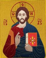 Господь Вседержитель, икона для хоругви вышитая