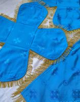 Воздух и покровцы вышивка «Виноградная лоза». Бархат голубой.