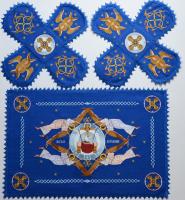 Воздух и покровцы вышивка «Престол уготованный». Лен цвет синий