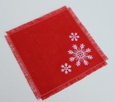 Салфетка льняная вышивка «Снежинки». Размер 22 х 22 см