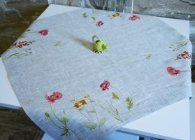 Скатерть вышивка «Флора». Размер 90х90 см. Лен, шелковые нити