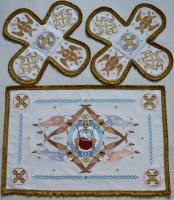 Воздух и покровцы вышивка «Престол уготованный». Лен цвет белый