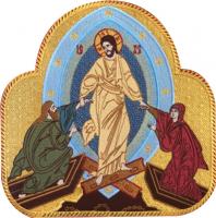 .Воскресение Христово, Сошествие Христа в ад, икона вышитая. Размер 25 х 25 см.