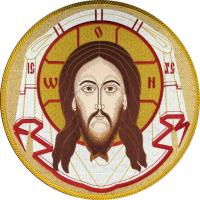Спас Нерукотворный, икона для хоругви вышитая круглая №3. Размер 33 х 33 см.