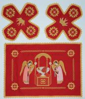 Воздух и покровцы вышивка «Агнец Божий». Лен красный