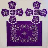 Воздух и покровцы вышивка «Виноград и колосья». Шелк цвет фиолетовый