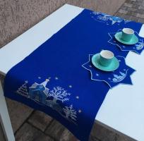 Дорожка льняная вышивка «Рождественская ночь». Размер 90 х 50 см