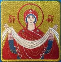 Покров Божией Матери икона вышитая. Размер 12 х 12 см.