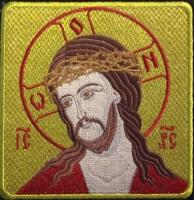 Христос в терновом венце икона вышитая. Размер 12 х 12 см.