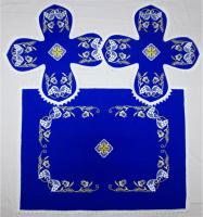 Воздух и покровцы вышивка «Преображение». Лен цвет синий