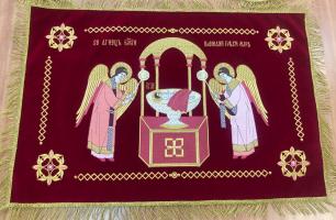 Воздух и покровцы вышивка «Агнец Божий». Бархат бордовый