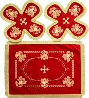 Воздух и покровцы вышивка «Виноград праздничный». Бархат цвет красный