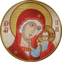 .Казанская икона Божией Матери, икона вышитая круглая. Размер 18 х 18 см.