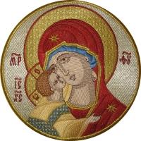 .Владимирская икона Божией Матери,  икона вышитая круглая. Размер 18 х 18 см.
