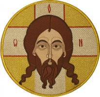 Спас Нерукотворный,  икона вышитая круглая. Размер 18 х 18 см.