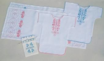 Крестильный набор  для младенцев до 12 мес. Вышивка на льне