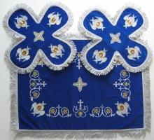 Воздух и покровцы вышивка «Херувимы». Бархат цвет синий