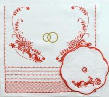Венчальный рушник с салфетками «Золотые кольца».  Вышивка на льне. Размер 150 х 45 см