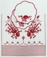 Венчальный рушник с салфетками «Красные цветы». Вышивка на льне. Размер 150 х 45 см