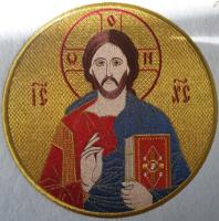 .Господь Вседержитель, икона вышитая круглая №2. Размер 18 х 18 см.