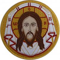 Спас Нерукотворный, икона вышитая круглая №3. Размер 18 х 18 см.