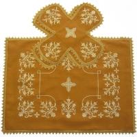 Воздух и покровцы вышивка «Сретение». Лен цвет желтый